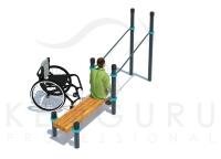 Брусья изогнутые со скамьей для инвалидов-колясочников