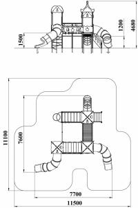 Детский игровой комплекс Шахматы с двумя пластиковыми горками
