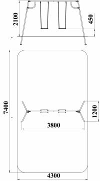 Качели с гибким подвесом двойные (подвесы в комплект не входит)