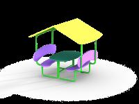 Столик со скамейками и навесом